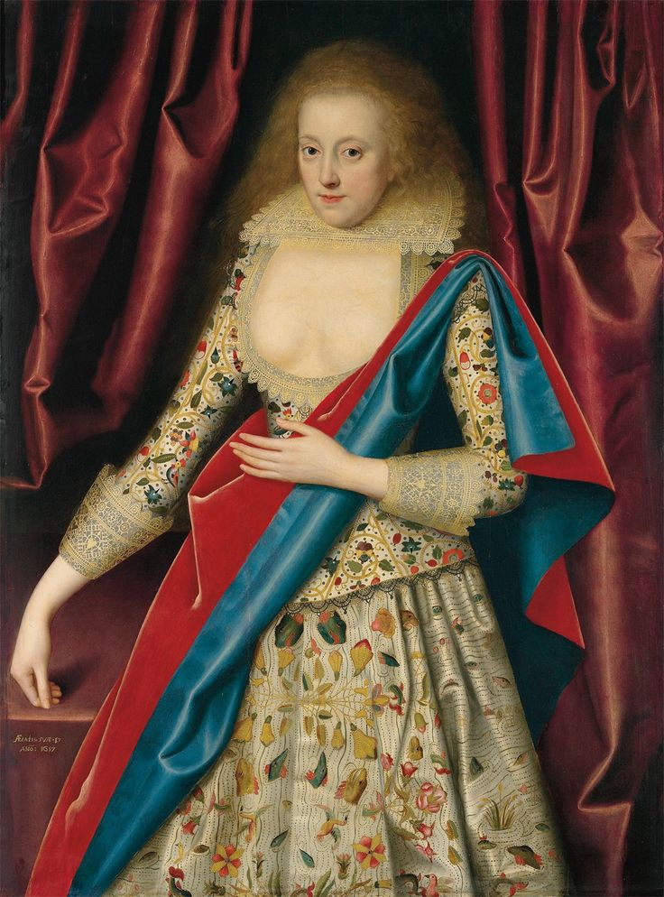 A Portrait of lady in masquing Dress.  Possibly Lady Thornhagh (D. 1660).  Date 1617 by William Larkin.