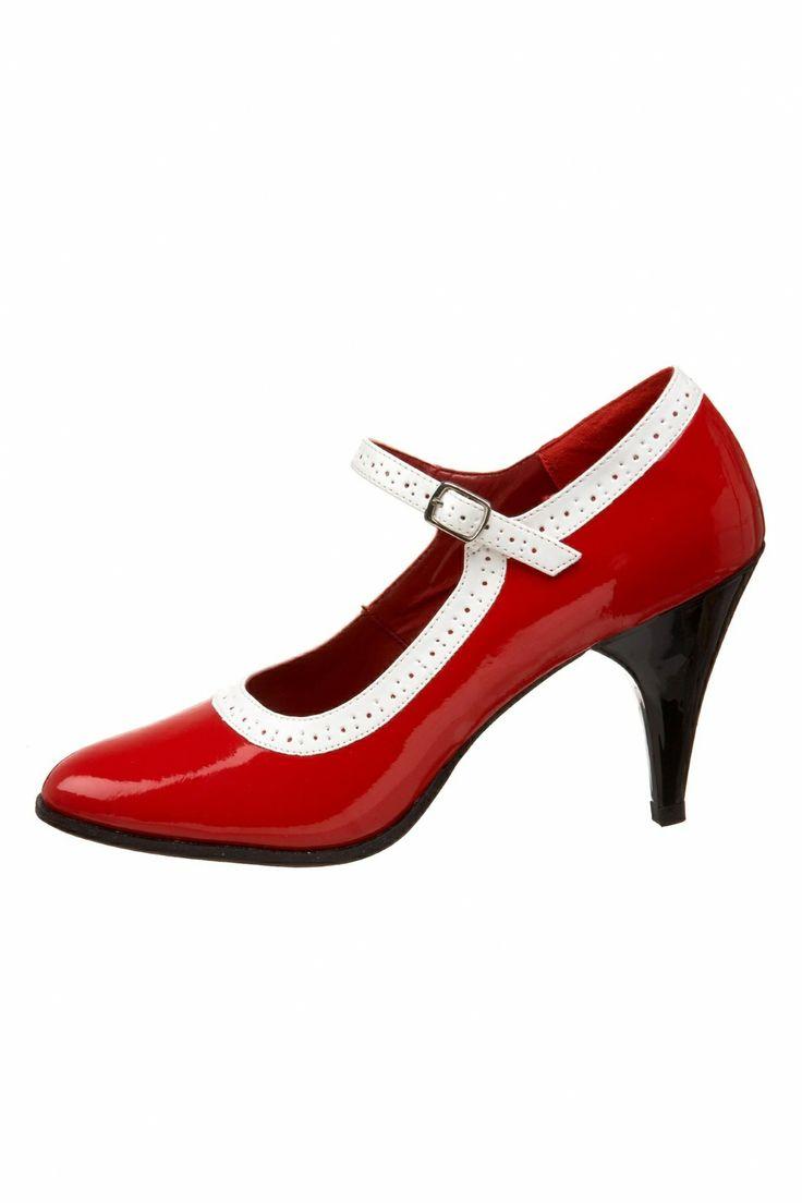 red mary jane heels | ... van pleaser schoenen brogue pumps mary jane pumps lak pumps rode pumps