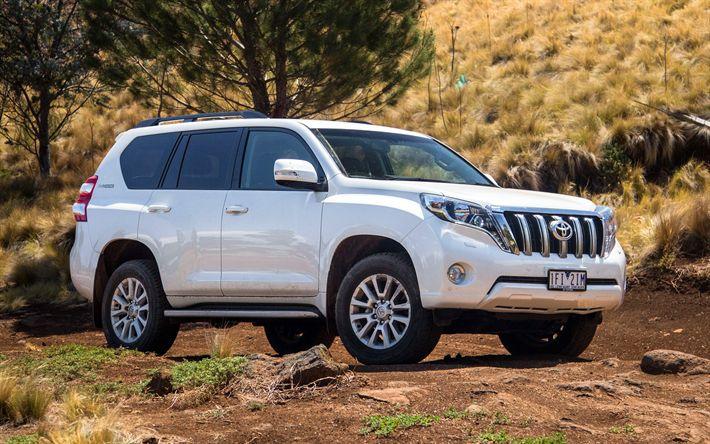 Descargar fondos de pantalla Toyota Land Cruiser Prado, offroad, 2018 autos, SUVs, blanca del Prado, los coches japoneses, Toyota
