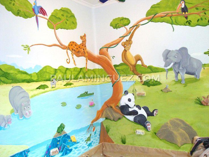mural infantil selva con animales para decorar un dormitorio de nios me llamo paula mnguez