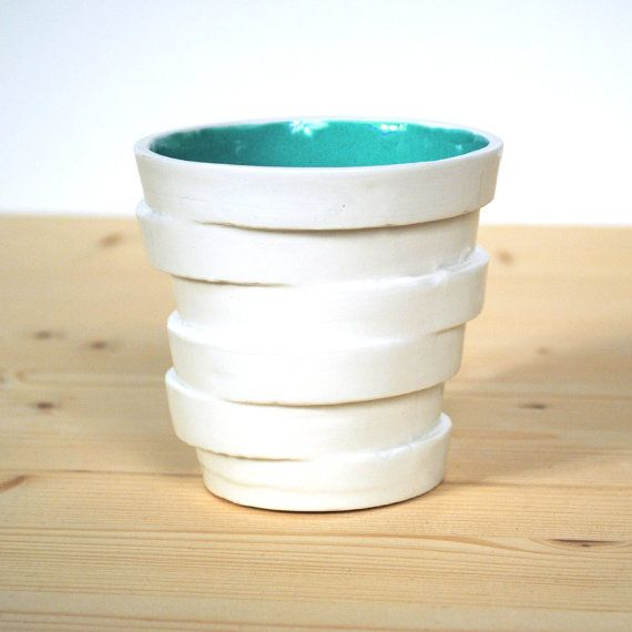 Modern ceramic cup in non concentric slices  - torn - tea mug - color mug coffe cup - tumbler - Stacked Cup - sliced circles - Emerald green...