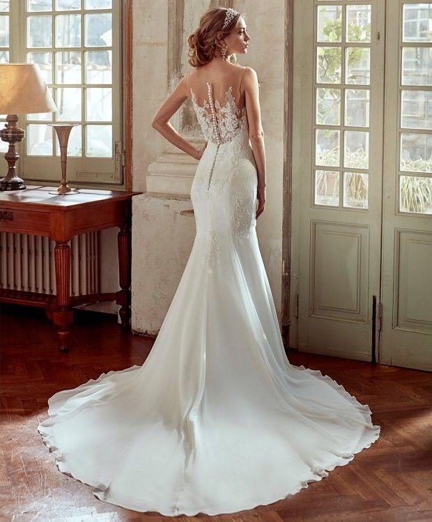 glamuroso y original vestido de novia de corte sirena de georgete y