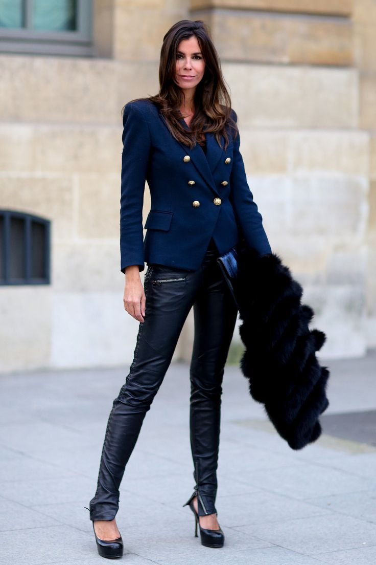A school,boy blazer paired with leather pants. Paris Fashion Week  Streetstyle Fall