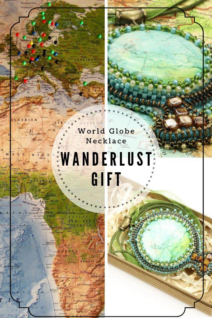 World Map Necklace Wanderlust Gift Planet Necklace World Globe