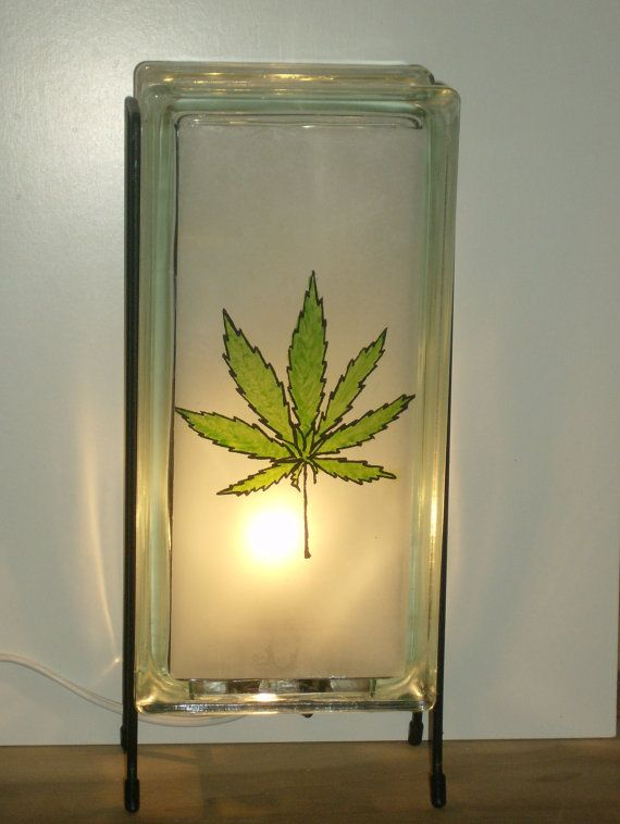 Marijuana Leaf Or Pot Leaf Glass Block Night Light By Glowblocks