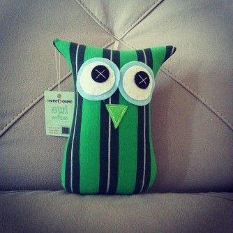 Green Striped Owl Softie from www.separ8.com/shop