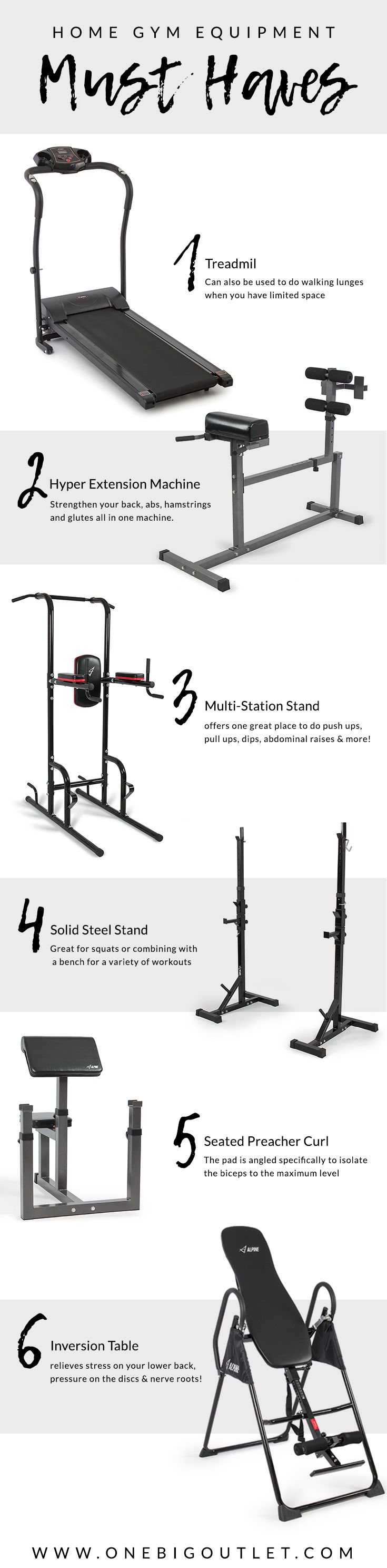 Top home gym equipment must haves! treadmill, hyper extension, multi-station stand, steel stand, seated preacher curl & inversion table! Multiple ways to use each machine