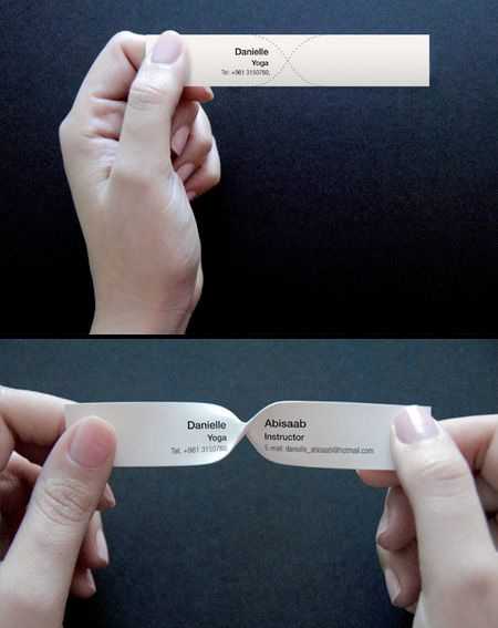 Clever business cards designed for a Yoga instructor. To read the entire message, the user has to twist the card