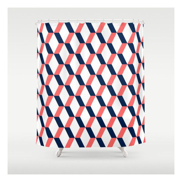 Geometric Shower Curtain Navy Coral White Bathroom Accessories Home 80 Liked On Polyvore