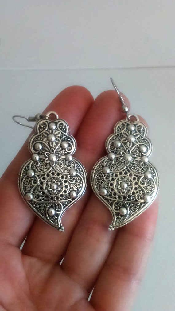 1 Pair of Portuguese filigree earrings silver 4.3 by ROYALcraftPT