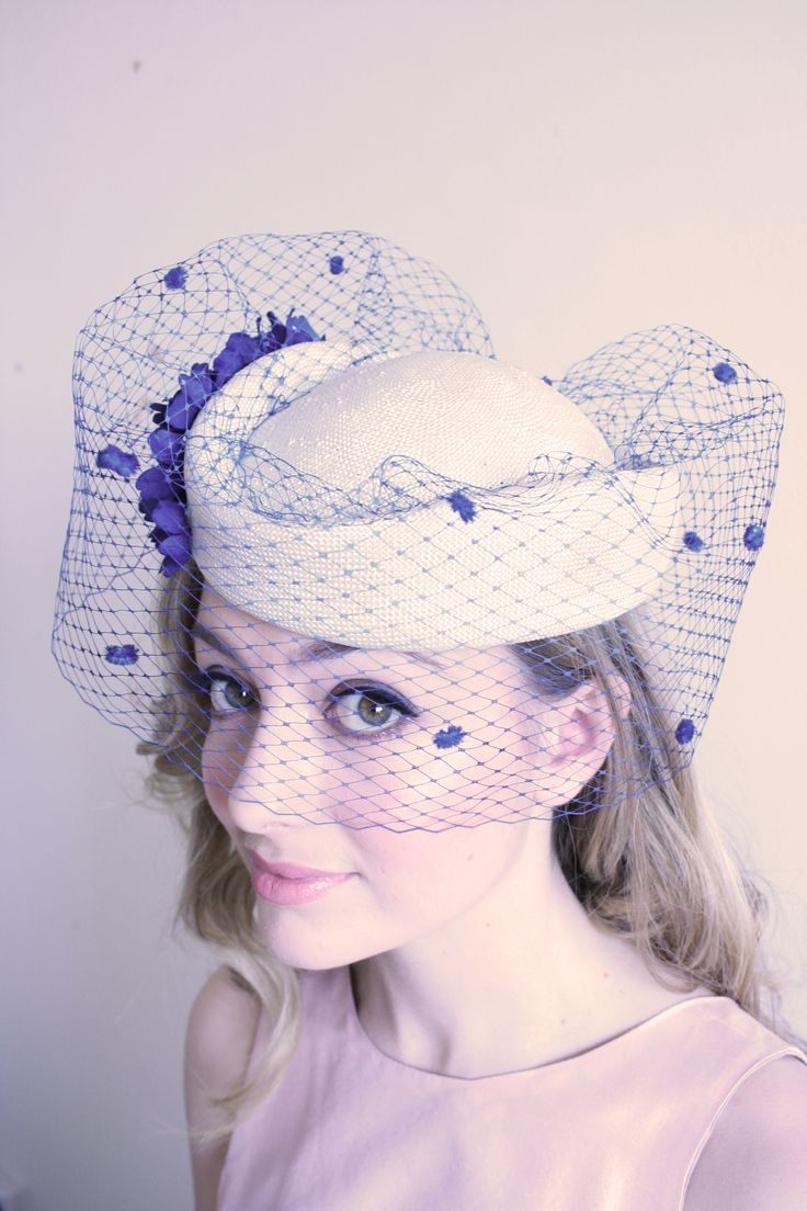 Natalie Chan 'Montmartere' white hostess hat with blue veiling adorned with blossoms and polka dots