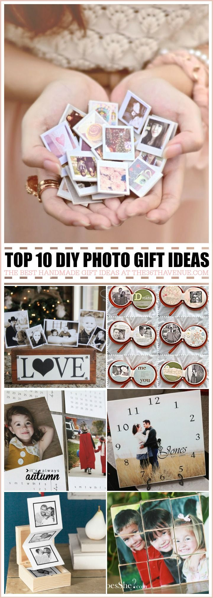 Top 10 Handmade Gifts using photos - These gifts ideas are perfect for Christmas gifts, birthday presents, Mother's Day Gifts and Valentines & Anniversary Gifts... These handmade gift ideas are super easy to make, adorable, and affordable... MUST RE-PIN!