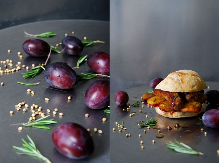 Caramelized Plum and Sausage Sandwich with Rosemary and Coriander Oil ° eat in my kitchen