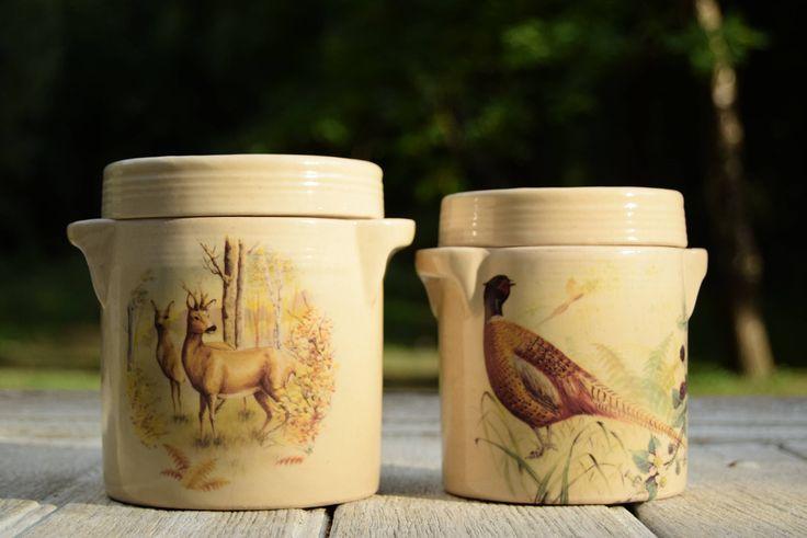 2 pots en grès vernissé / Ambiance campagne française / Faune sauvage / Chevreuil, faisan de la boutique AuPresDeMontToi sur Etsy