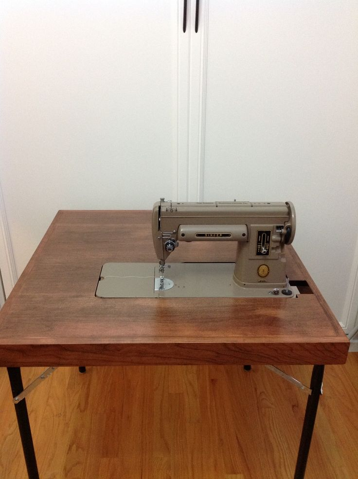 An Amish Made Reproduction Of The Singer Featherweight Folding Card Table.  This Combo Model Also Fits The (shown). Made By CottageCraftWorks