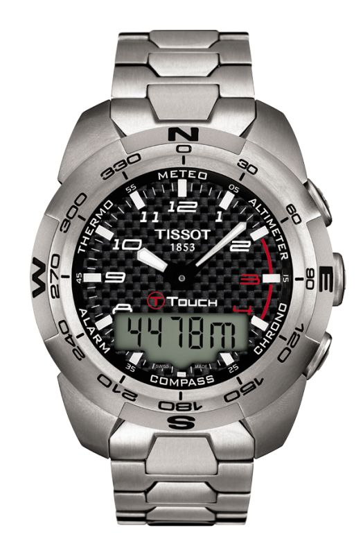 With the Tissot T-Touch Expert the wearer has a high-precision instrument offering the ideal combination of high-tech functionality and ease of use. More than just a watch, it offers 15 separate functions, activated by a touch on the screen. Outdoor adventurers have direct access to an altimeter (in feet and meters), altitude difference meter, chronograph (split and cumulative time), compass, two alarms, thermometer (in ºC and ºF), barometer, date and time (measured on the 12-hour or 24-hour…