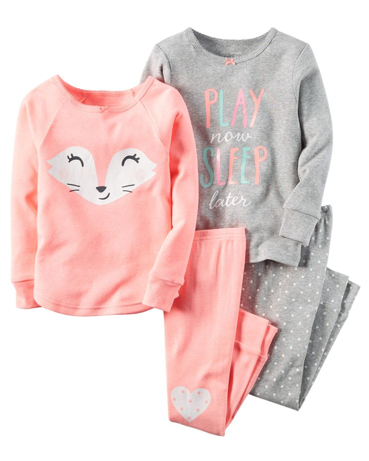 Note: To help keep children safe, cotton pjs should always fit snugly. In coordinating prints, this 4-piece set includes two tops and two pants that can be mixed and matched for a variety of comfy bedtime options!