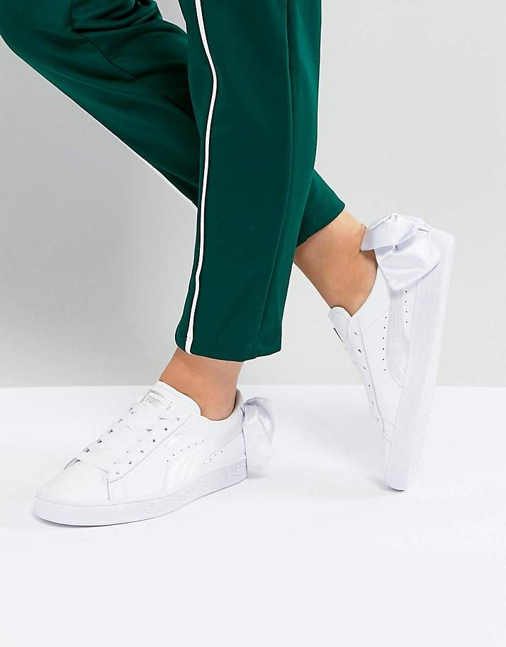 quality design 9c0b9 ac6bf Puma Suede Bow Sneakers In White | outfit in 2019 | Sneakers ...