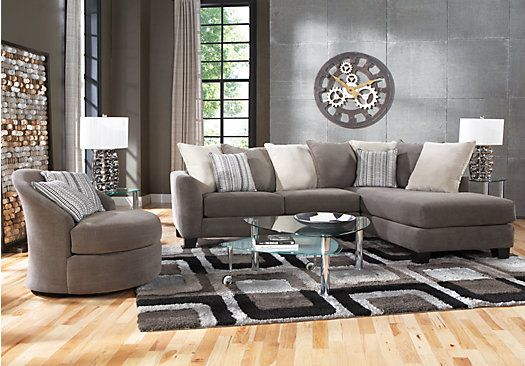 Shop for a meridian springs charcoal 5 pc sectional living for Find living room furniture