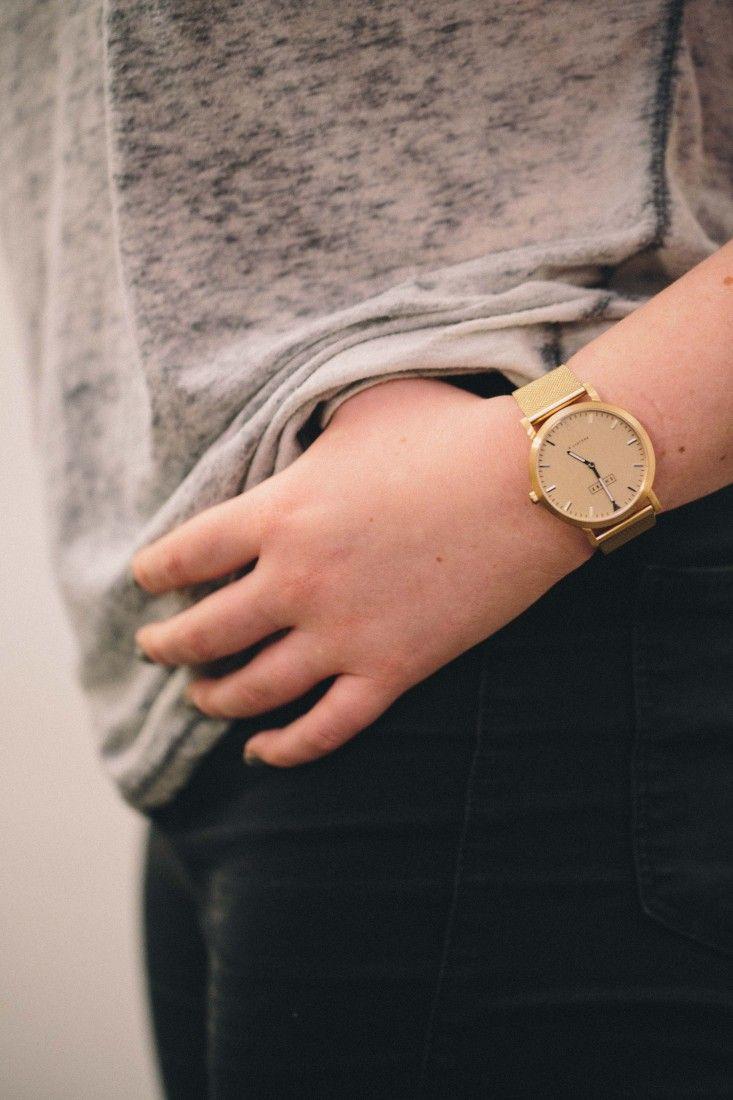 Grey Tee, Black Jeans, Cute Watch