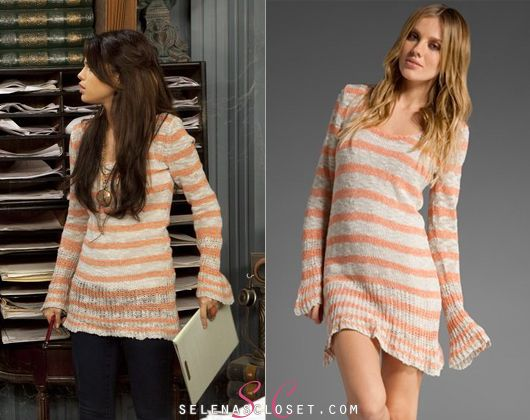 Selena (or shall I say Alex Russo) wore this Free People Kiwi Top(color: Natural)in Wizards of Waverly Place Season 4 Episode 18- Justins Back in. Its on ebay right now for only $12!!. Buy it HERE