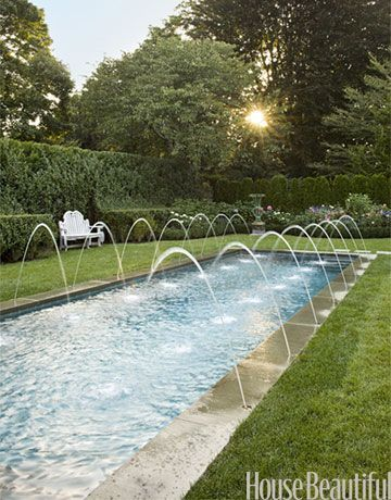Pool Fountains - If you're putting in a pool, consider a saltwater chlorination system. It can be more expensive to install but cheaper to maintain. And the water feels great- no chemical smell, stinging eyes, or green hair.