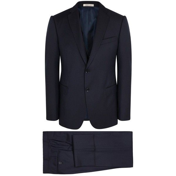 Armani Collezioni M-Line Navy Three-piece Wool Suit - Size 38 ($1,250) ❤ liked on Polyvore featuring men's fashion, men's clothing, men's suits, mens navy suit, mens 3 piece suits, mens three piece suit, merino wool mens clothing and mens navy 3 piece suit