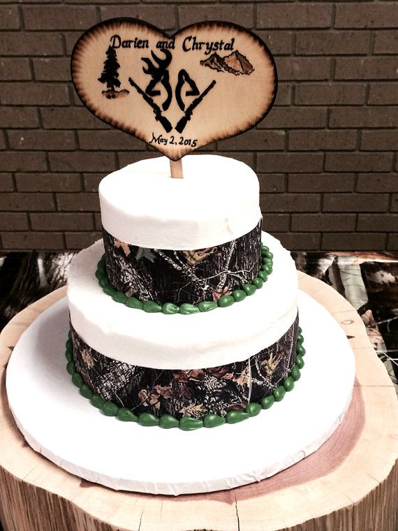 DEER Hunting cake topper Buck and Doe Deer Heads Camo by RivdomArt
