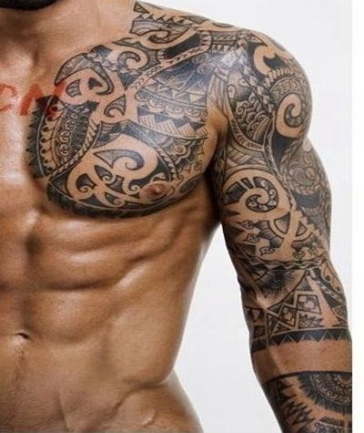 The guys can get with this tattoo on the shoulder!