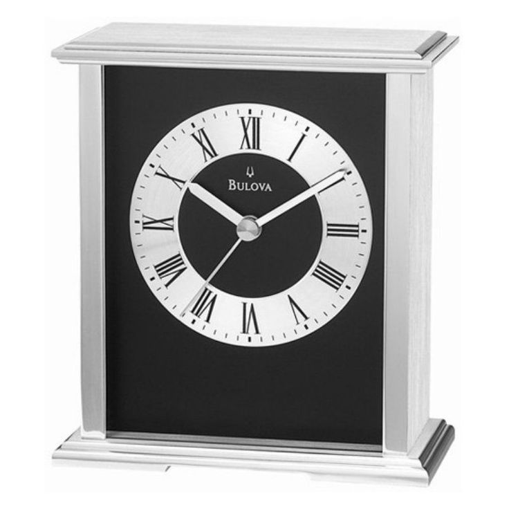 Bulova Baron Silver and Black Mantel Clock - B2266
