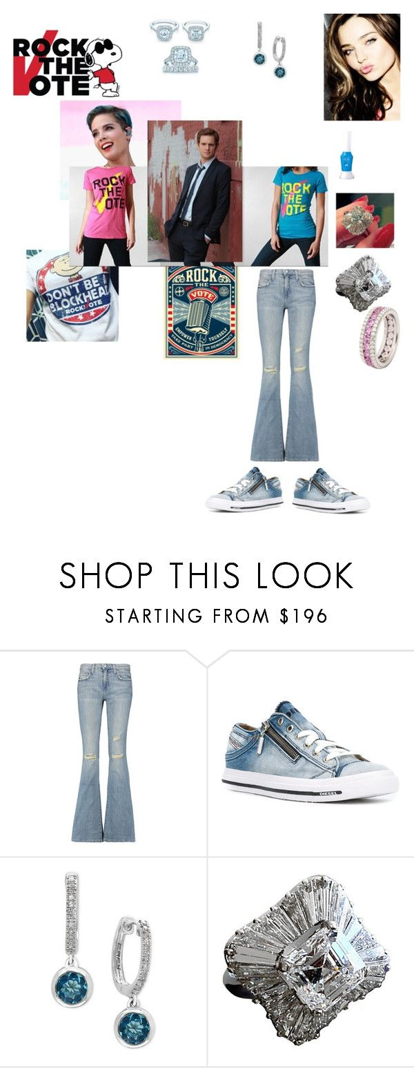 """Will and Lola Rock The Vote! with Halsey!"" by ejmfashionista ❤ liked on Polyvore featuring Kerr®, Current/Elliott, Diesel, Effy Jewelry and Bulgari"