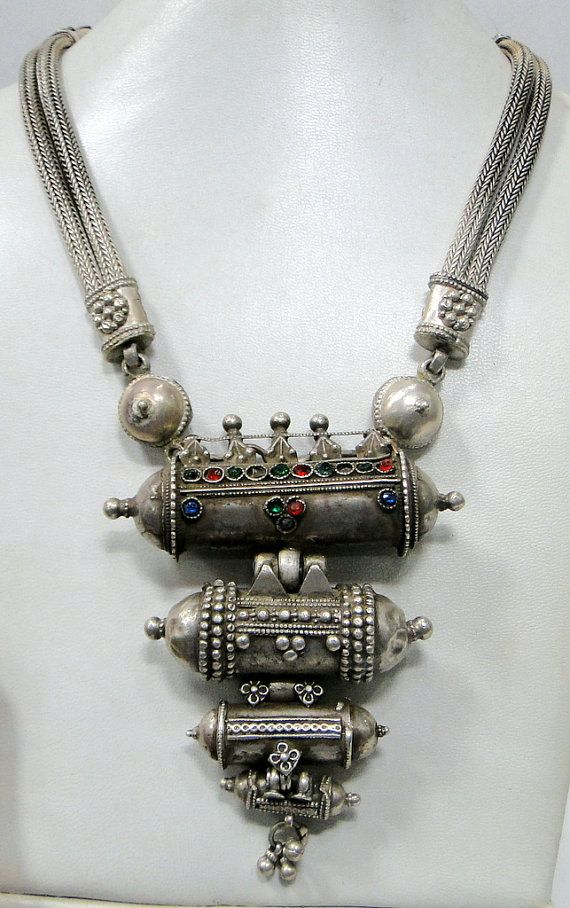 Antique vintage tribal old silver prayer pendant necklace