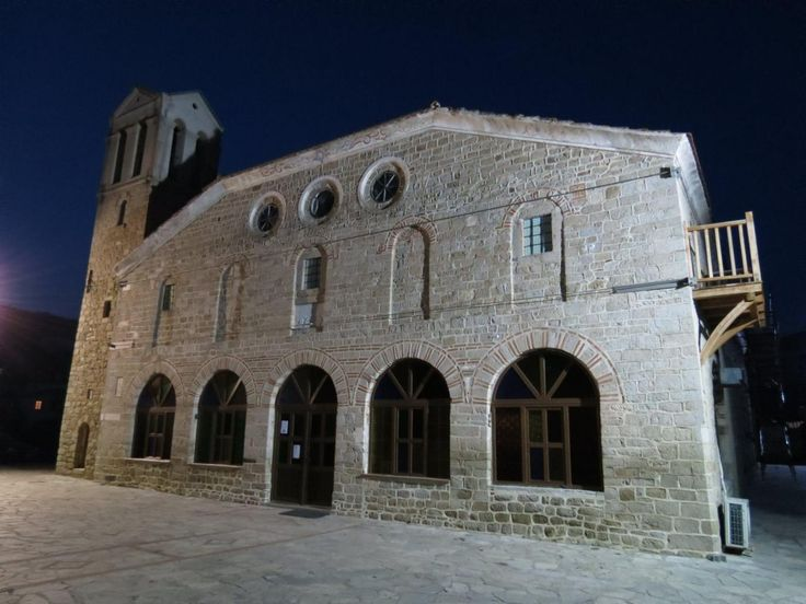 Night view of the the church in Sykia, Sithonia, Halkidiki