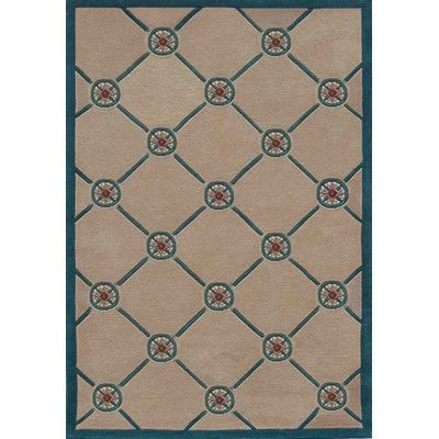 "American Home Rug Co. Beach Rug Ivory/Teal Compass Novelty Rug Rug Size: 3'6"" x 5'6"""