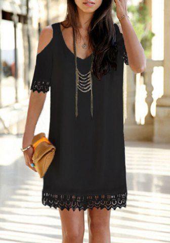 Chic V-Neck Solid Color Shoulder Cut Out Lace Hem Dress For Women