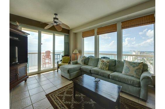 Wrap-around balcony, breathtaking views and inviting decor await at this 3 bedroom beachfront condo in Panama City Beach, FL, at Seychelles Resort.