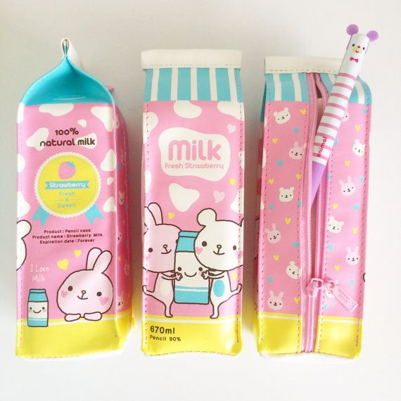 Kawaii Pastel Strawberry Milk Carton Zipper Pencil Case. One pencil case.
