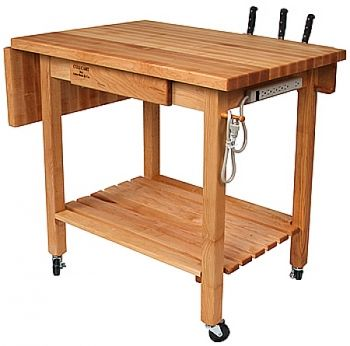This Culinary Kitchen Cart Includes Cutting Board And Built In Knife Holder  By John Boos