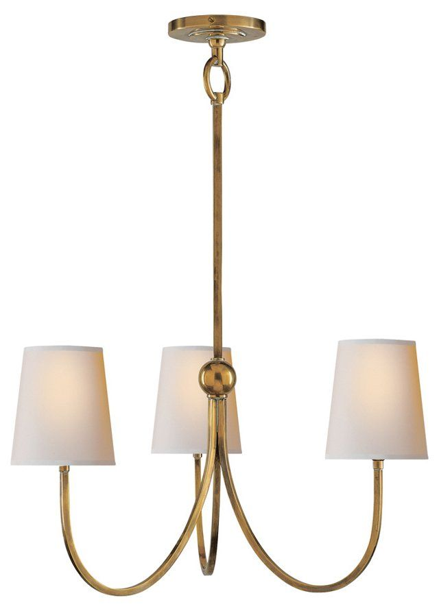 Reed 3-Light Chandelier, Antique Brass