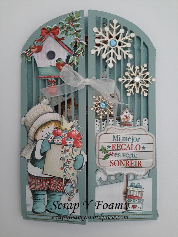 Tarjeta realizada sobre soporte de Dayka con la colección Dulce Navidad