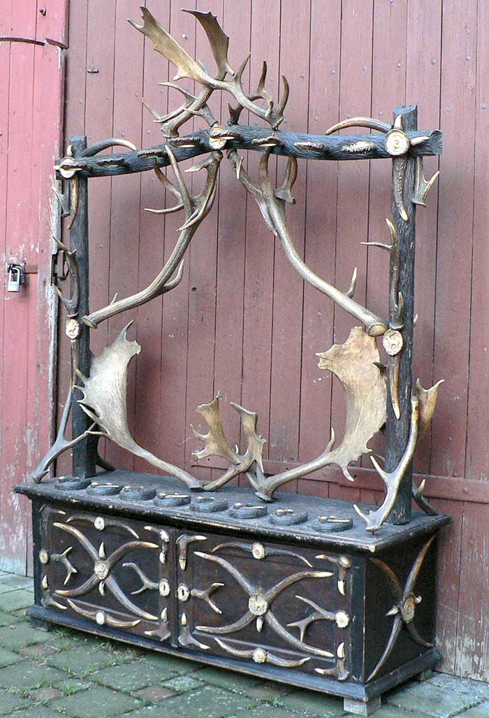 antique gun rack with antlers, ca. 1890