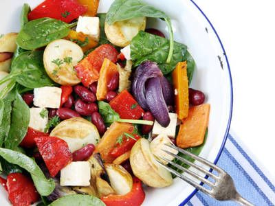 Grilled Vegetable Spinach Salad with Tofu
