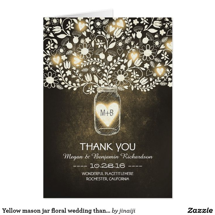 free online printable wedding thank you cards%0A Yellow mason jar floral wedding thank you card