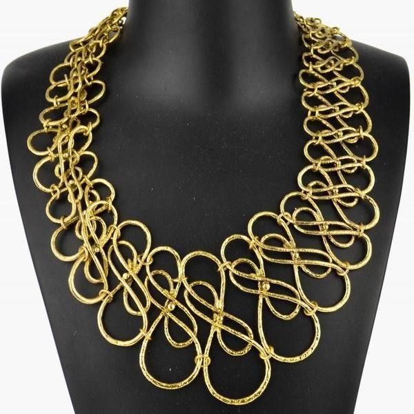 Chic Vintage Gold Plated Waved Wrap Statement Bib Collar Pendant Necklace #Handmade #Collar #CasualPartygiftCocktailClubEveningProm