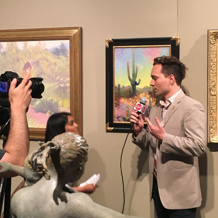 At The Autry Museum, Christopher L Cook is interviewed by the Los Angeles Academy of Figurative Art (LAAFA). The academy has been selected as one of the Top 10 Best Art Schools in the World by the well respected art publication, American Artist Magazine. His work 'Desert Empathy' is hung behind CLCook as a part of the106th Annual Gold Medal Exhibition with the California Art Club.