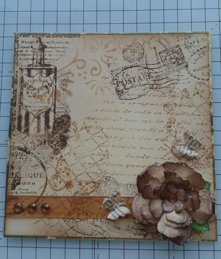 Using distress inks and stamps to create background