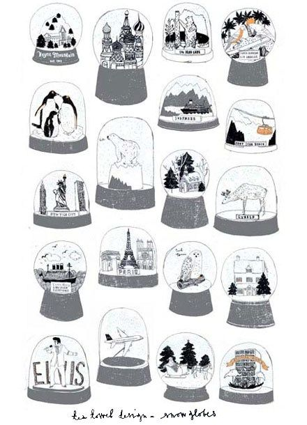 Snow Globes Tea Towel <3