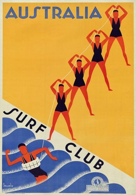 Surf Club Lifesavers, Australia. Vintage Travel Poster print by Gert Sellheim | eBay