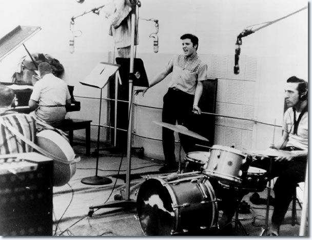 Elvis Presley - Jailhouse Rock sessions. Drummer: DJ Fontana. Drum overhead microphone: Electro Voice 666; the mike of the beast.