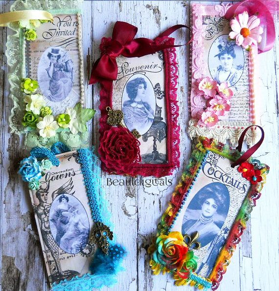 Vintage Decorative Tags  Lace  Flowers  Charms  by Beauladigitals